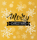 Merry Christmas greeting background. Holiday winter template with snowflakes and bokeh effect. Vector Illustration.
