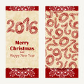 Merry Christmas greeting card. Abstract Happy New Year 2016 background. Hand drawn inscription. Vector illustration Royalty Free Stock Photo
