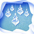Merry Christmas Greeting card with bauble on blue background Royalty Free Stock Photo