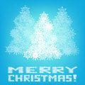 Merry christmas greeting card with blue background on Stock Photos