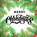 Merry Christmas greeting card calligraphy, gold stars decoration on holly and Christmas tree branches frame. Happy winter holidays Royalty Free Stock Photo