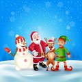 Merry Christmas greeting card with cartoon Christmas characters