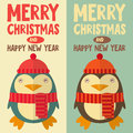 Merry christmas greeting card with cartoon cute penguin vector illustration Stock Images