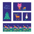 Merry Christmas greeting card with cute animals: pig, reindeer,