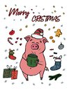 Merry Christmas greeting card with cute piggy. 2019 year of the pig. Happy new year animal holiday cartoon character vector.