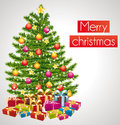 Merry christmas greeting card with decorated tree Stock Images