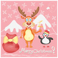Merry christmas greeting card with deer and pengui penguin cute cartoon characters snowflakes presents bag winter holidays hand Stock Photos