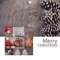 Merry christmas greeting card elegant collage with decoration and the natural beauty of winter the collage can also be used as a Stock Photo