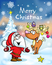Merry christmas greeting card funny santa claus and reindeer illustration Stock Images