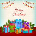 Merry Christmas Greeting Card. Gift Boxes, Decorative Lamps, Garlands.