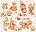 Merry Christmas greeting card with gingerbread cookies as Nutcracker characters Royalty Free Stock Photo