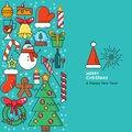Merry Christmas greeting card with christmas icons. Happy New year wishes. Poster in flat line modern style.