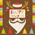 Merry christmas greeting card in hipster style with santa claus vector illustration Stock Image