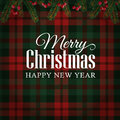 Merry Christmas greeting card, invitation with Christmas tree branches and red berries border. Tartan checkered background. Royalty Free Stock Photo