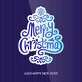Merry christmas greeting card lettering illustration Royalty Free Stock Image