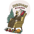 Merry Christmas greeting card. Old man sitting in the chair and smoking tobacco pipe near christmas tree. Cartoon style. Vector Royalty Free Stock Photo