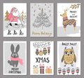 Merry Christmas greeting card set with cute santa, tree, deer, rabbit, owl and other elements. Cute Hand drawn holiday cards and i Royalty Free Stock Photo