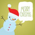 Merry christmas greeting card with snowman and speech bubble holiday vector illustration Royalty Free Stock Image