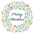 Merry Christmas greeting card with wreath, Vintage Background With Typography and Elements - sock, spruce, fir-tree, lollipop, str Royalty Free Stock Photo