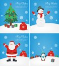 Merry christmas greeting cards set. Christmas collections with Santa and other characters. Vector