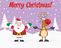 Merry christmas greeting with santa claus and reindeer cartoon character Stock Photos