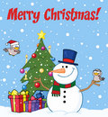Merry christmas greeting with a snowman Royalty Free Stock Photography