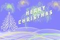 Merry Christmas greeting written beside Xmas tree Royalty Free Stock Photo