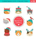 Merry Christmas greetings with cute cats characters, vector collectionn