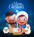 Merry Christmas greetings with jesus born in manger, belen with joseph and mary