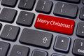 Merry christmas greetings on keyboard enter key photo of close up pad for concepts Royalty Free Stock Photography
