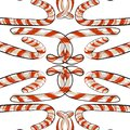 Merry Christmas Greetings in Realistic 3D Candy Cane and Christmas Balls in Background. Vector Illustration Royalty Free Stock Photo