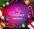 Merry Christmas Greetings in Realistic Decorations and Objects Royalty Free Stock Photo