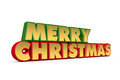 Merry christmas greetings red green and gold on white background Royalty Free Stock Photo