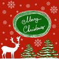Merry Christmas Hand Calligraphic Lettering. Vector Greeting Card. White Deer Green Fir Trees Dusted with Snow Flakes. Red Backgro