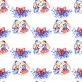 Merry Christmas hand draw illustration. Two funny rabbits kissing under mistletoe. Seamless pattern