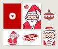 Christmas santa claus cartoon holiday card set Royalty Free Stock Photo