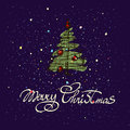 Merry Christmas hand lettering isolated on dark background. Vector image. Greeting card. Royalty Free Stock Photo