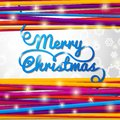Merry Christmas handwritten blue swirl lettering Royalty Free Stock Photo