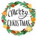stock image of  Merry Christmas. Lettering and Christmas wreath