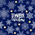 Merry Christmas handwritten lettering design on dark blue background. Vector illustration. Snowflakes winter pattern Royalty Free Stock Photo
