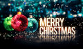 Merry Christmas Hanging Baubles Blue Bokeh Beautiful 3D Royalty Free Stock Photo