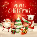 Merry Christmas! Happy Christmas companions. Santa Claus, Reindeer, Elf, Polar Bear, Fox, Penguin and Red Cardinal Bird in Christ Royalty Free Stock Photo