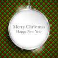 Merry christmas happy new year ball silver on geo vector geometric seamless pattern Stock Photos