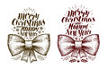 Merry Christmas and Happy New Year, banner. Xmas, holiday label. Lettering, calligraphy vector illustration