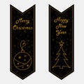 Merry Christmas and Happy New Year banners in retro style Royalty Free Stock Photo