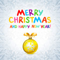 Merry Christmas, and Happy New Year! Card. ball toy. bow-knot ribbon Royalty Free Stock Photo