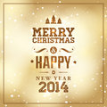 Merry christmas and happy new year card with typography Royalty Free Stock Photo
