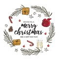 Merry Christmas and Happy New Year circle concept. Christmas greeting card with calligraphy, gift, fir branch, champagne, stars, Royalty Free Stock Photo