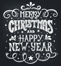 Merry Christmas and Happy New Year. Conceptual handwritten phrase T shirt calligraphic design, greeting card, poster or