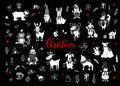Merry christmas and happy new year cute funny hand drawn doodles animals silhouettes collection